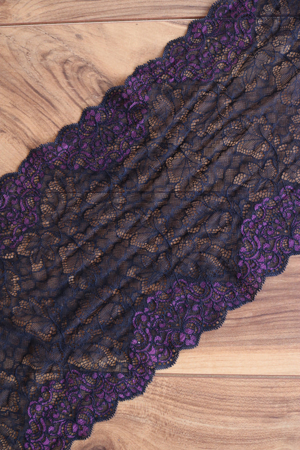 "Black & Purple 9"" Wide Stretch Lace"