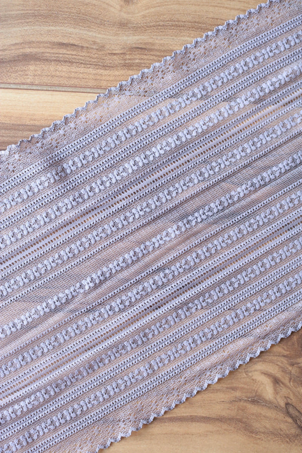 "Taupe 9"" Wide Stretch Lace"