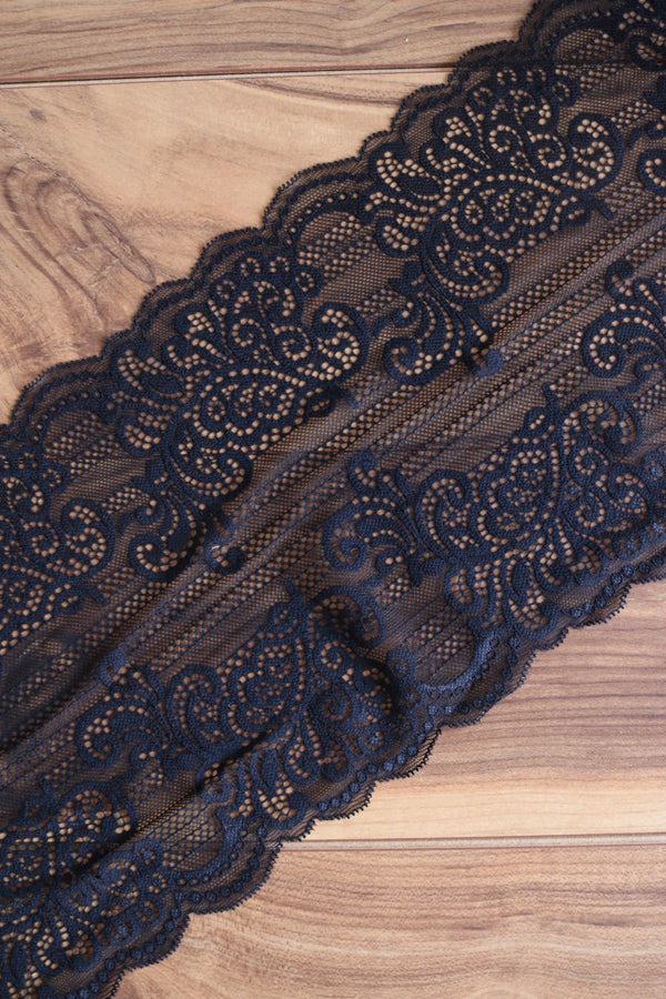 "Black 9"" Wide Stretch Lace"