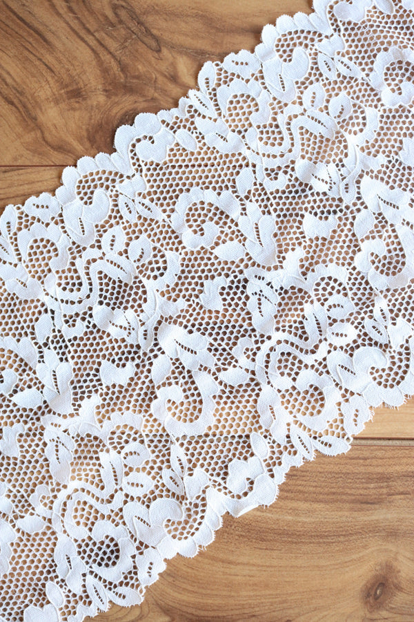 "Ivory 9.25"" Wide Stretch Lace"