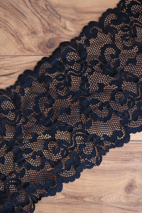 "Black 9.25"" Wide Stretch Lace"