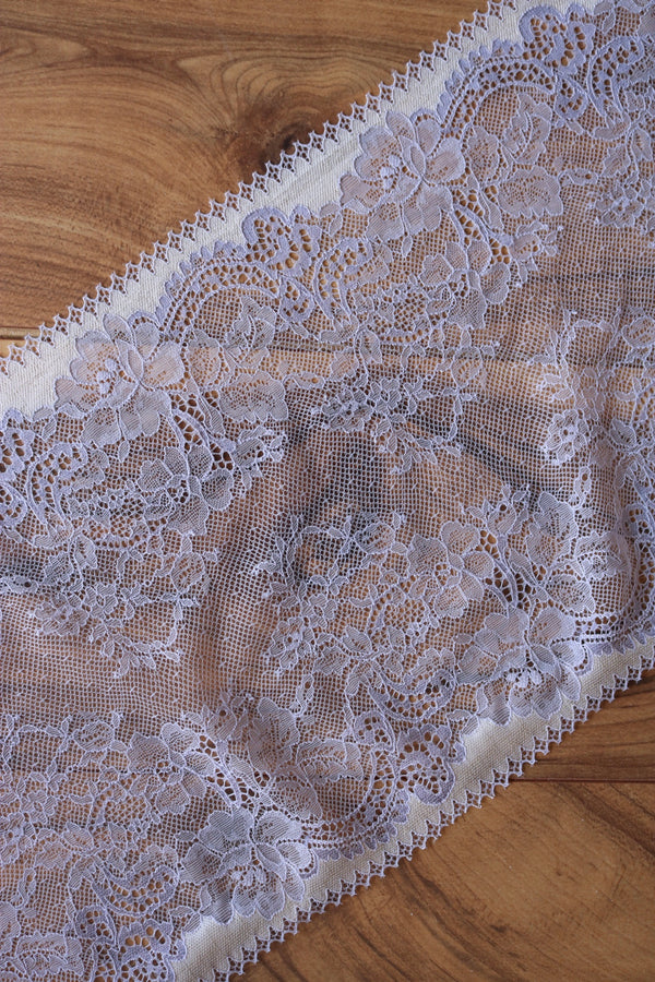 "Lilac & Ivory 9"" Wide Stretch Lace"