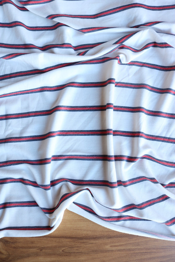 Tomato & Navy Stripe on Ivory French Terry