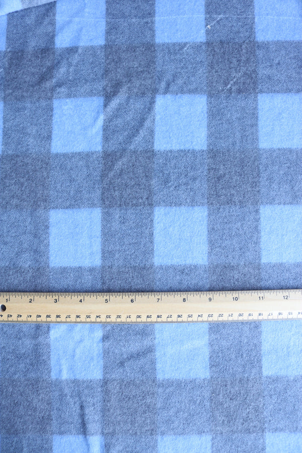 Light Blue Large Check Soft Brushed Sweater Knit