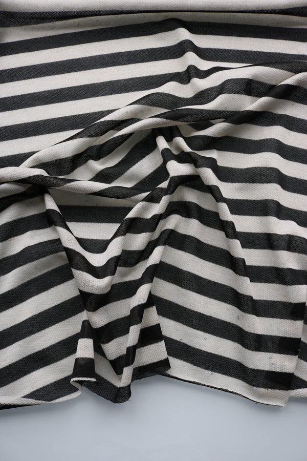 Black & Ivory Stripe Lightweight Baby French Terry