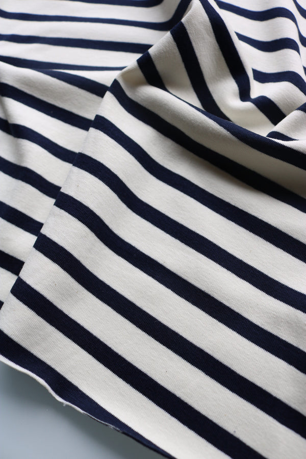 Ivory & Navy Cotton Spandex Double Knit