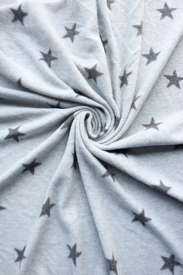 Charcoal Stars on Heather Grey Soft Brushed Sweater Knit