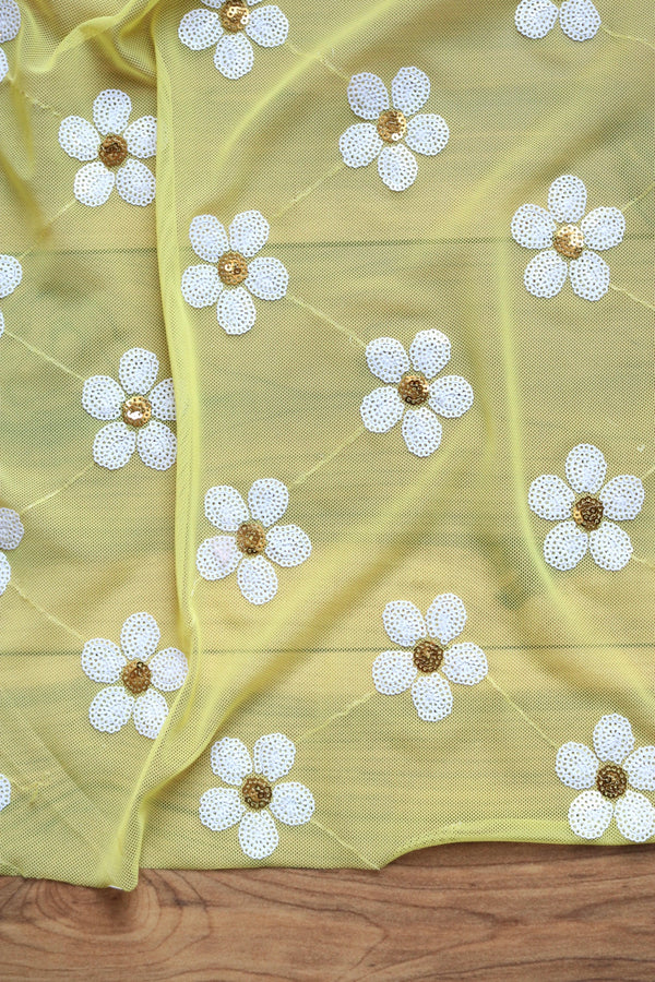 Daisies on Yellow Stretch Mesh