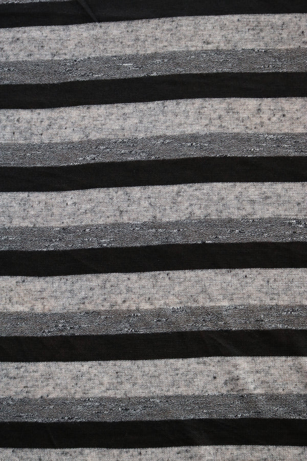 Black & Greys Stripe Linen Sweater Knit