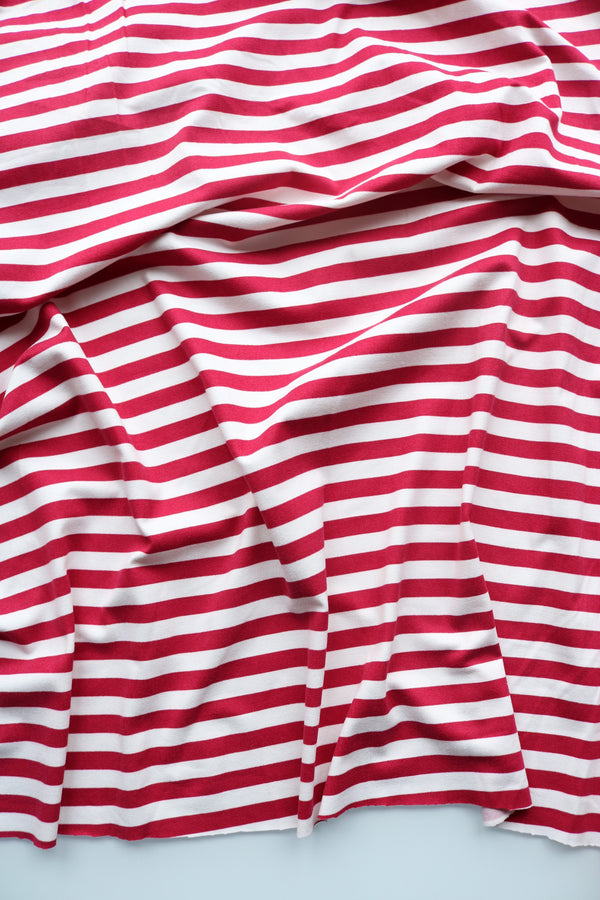 Raspberry & Ivory Stripe Double Brushed Poly