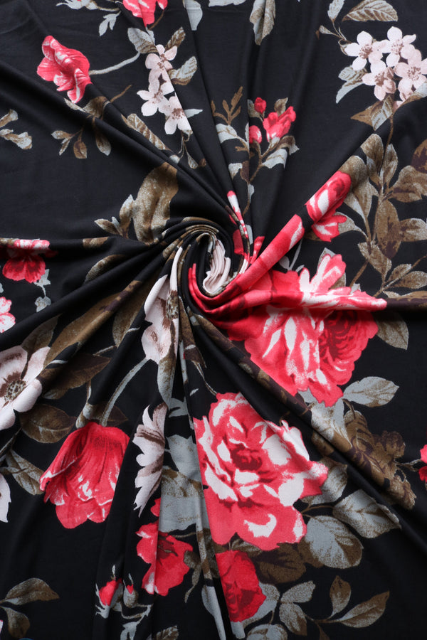 Leslie Floral on Black Double Brushed Poly