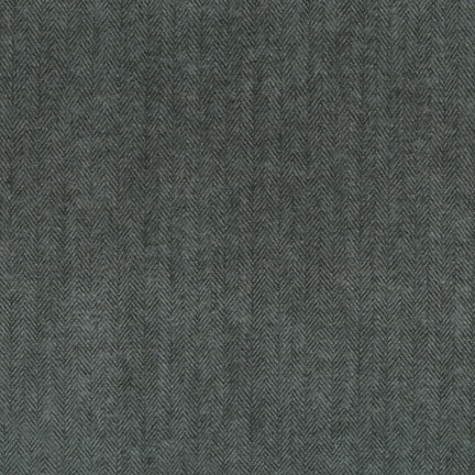 Charcoal/Black Herringbone Robert Kaufman Shetland Flannel