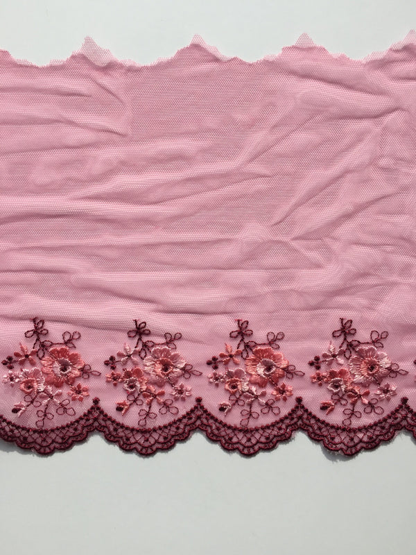 "Pink & Burgundy 8"" Wide Embroidered Lace Trim"