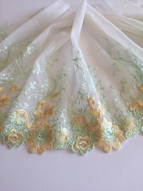 "Yellow/Mint Green 7.5"" Wide Embroidered Lace Trim"