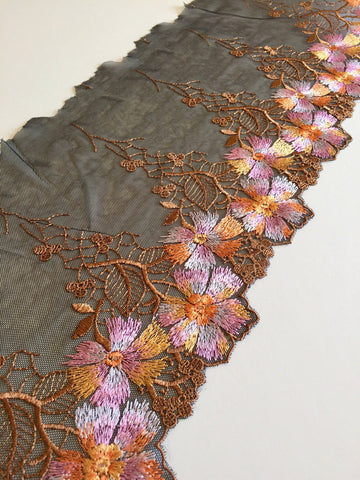 "Black/Brown/Orange/Pink/White 7.5"" Wide Embroidered Lace Trim"