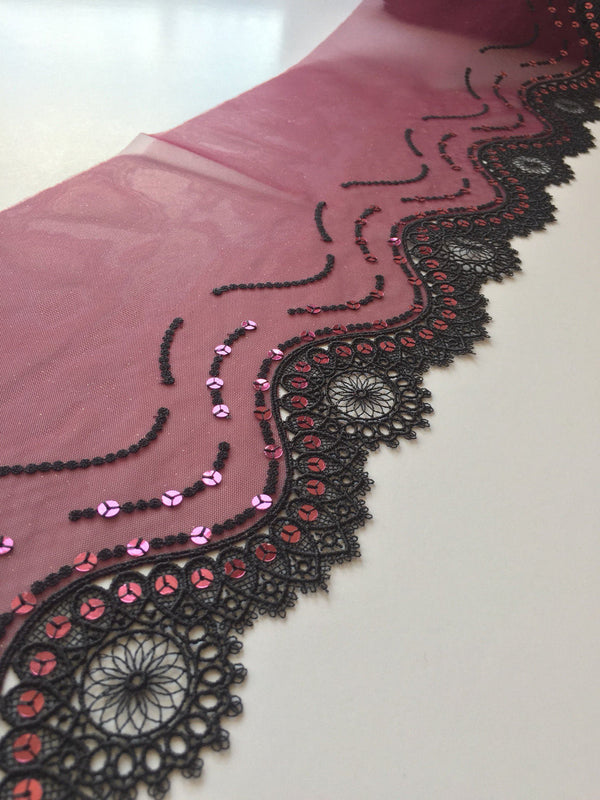 "Burgundy & Black 7.25"" Wide Embroidered Lace Trim"