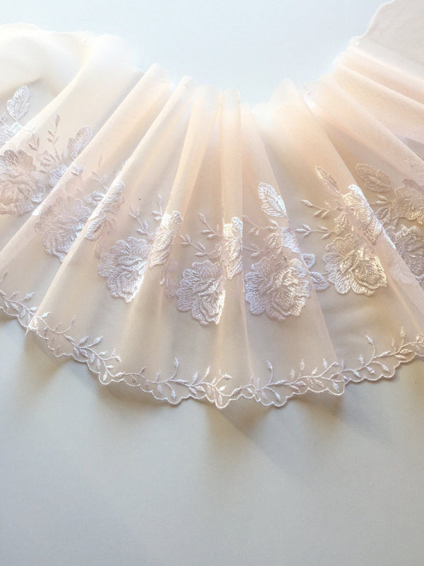 "Light Peach/White 7"" Wide Embroidered Lace Trim"
