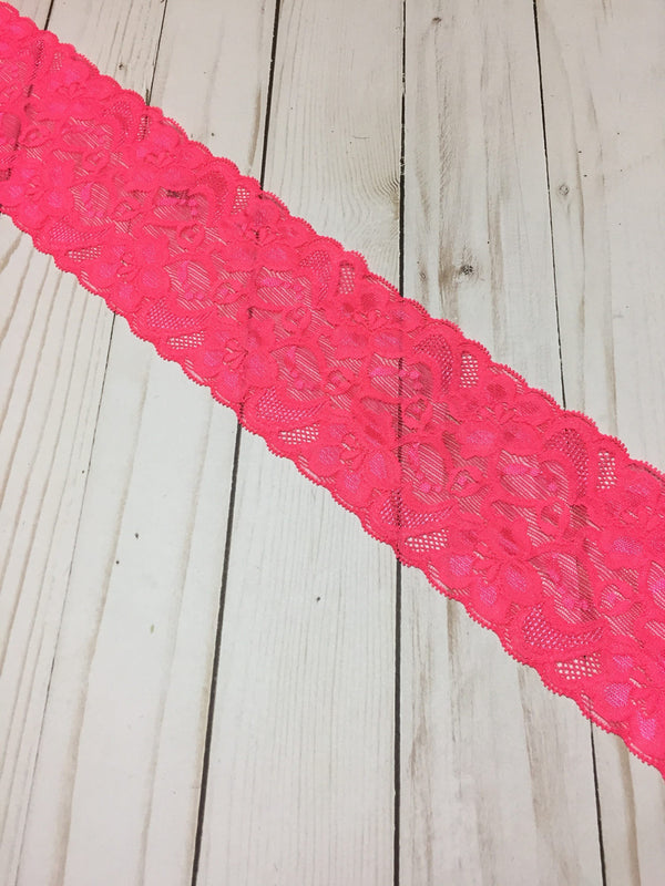 "Hot Pink 3.5"" Wide Stretch Lace"