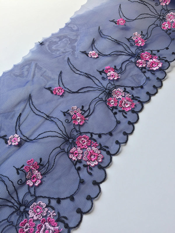 "Navy/Black/Pink 7"" Wide Embroidered Lace Trim"
