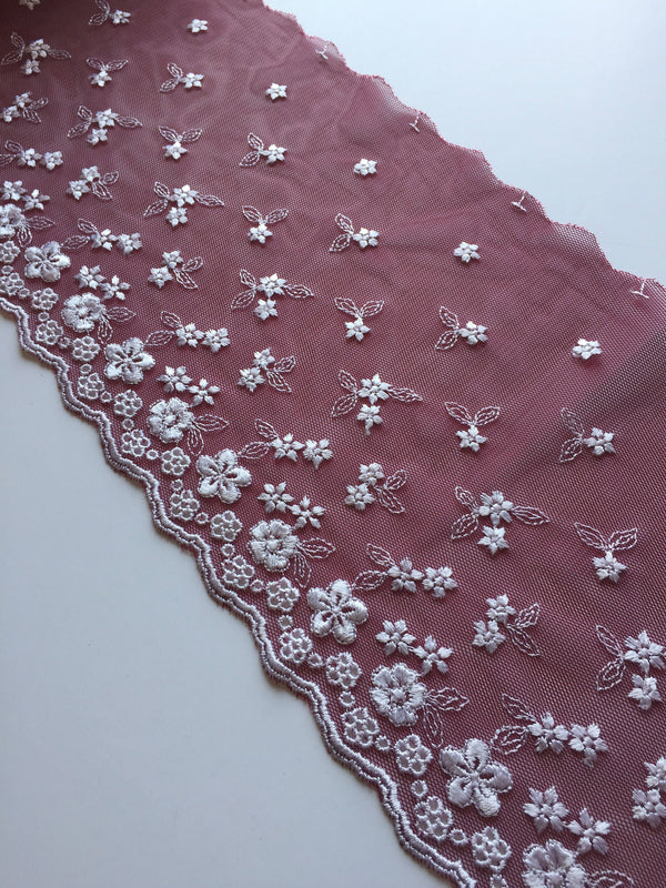 "Maroon & White 7"" Wide Embroidered Lace Trim"
