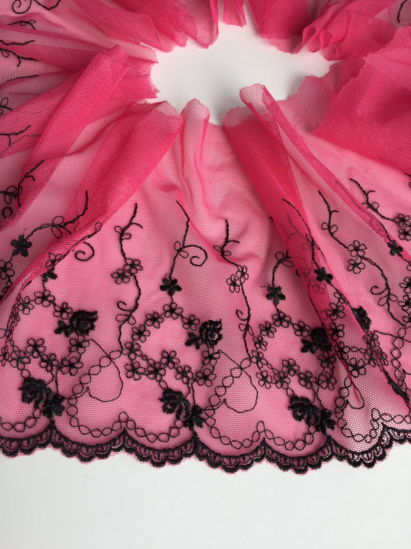 "Pink & Black 7"" Wide Embroidered Lace Trim"
