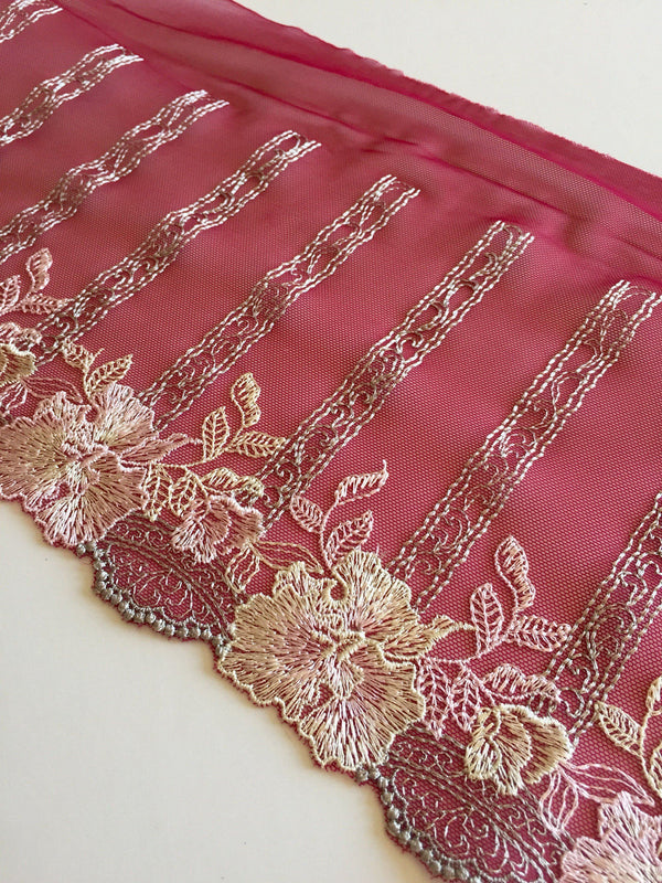 "Burgundy/Beige/Pink/Gray 8"" Wide Embroidered Lace Trim"