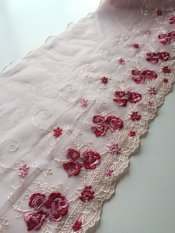 "Pink/Red/White 9"" Wide Embroidered Lace Trim"