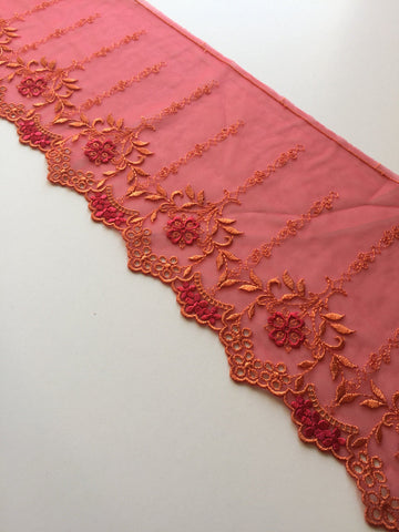 "Red & Orange 6.25"" Wide Embroidered Lace Trim"