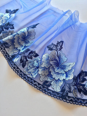 "Blue & Gray 8.5"" Wide Embroidered Lace Trim"