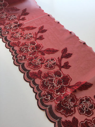 "Red/Black/White 8"" Wide Embroidered Lace Trim"