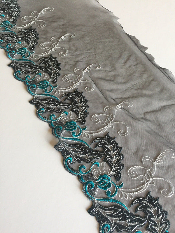 "Black/Blue/Metallic Gray 7.25"" Wide Embroidered Lace Trim"