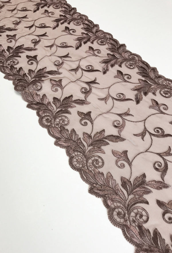 "Brown 8.75"" Wide Embroidered Lace Trim"
