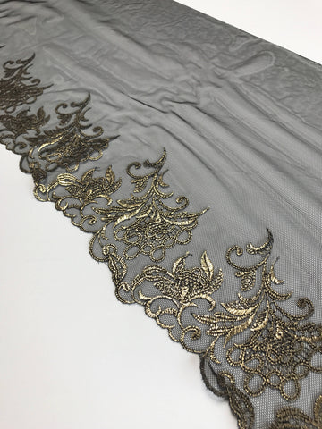 "Black & Gold 9"" Wide Embroidered Lace Trim"