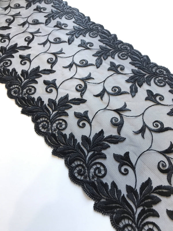 "Black 9"" Wide Embroidered Lace Trim"