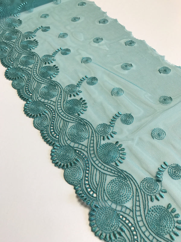 "Dark Mint 8"" Wide Embroidered Lace Trim"