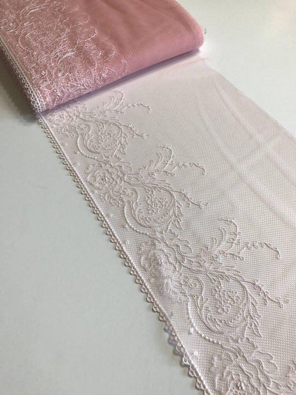 "Light Pink & White 8.5"" Wide Embroidered Lace Trim"