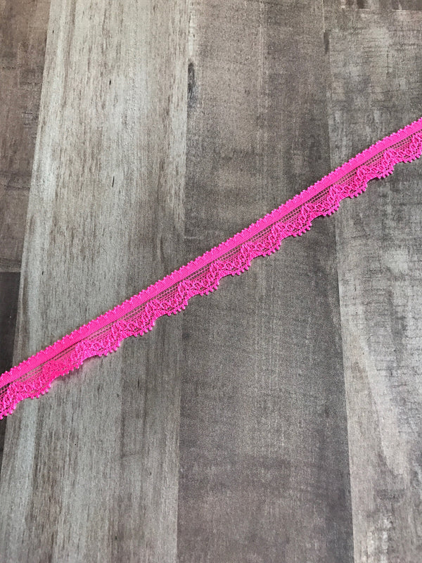 "Neon Pink .5"" Wide Stretch Lace"