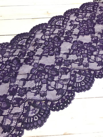 "Dark Purple 9"" Wide Stretch Lace"
