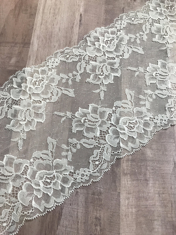 "White 6.5"" Wide Stretch Lace"