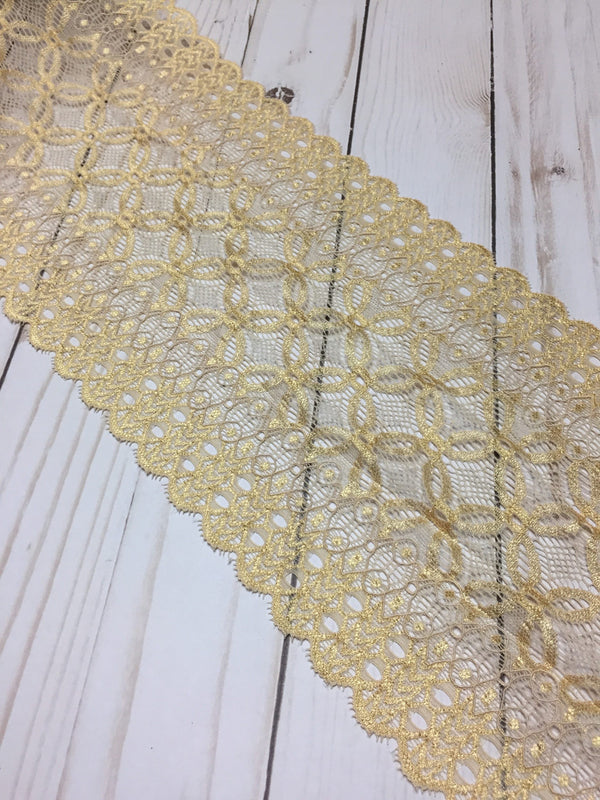 "Yellow Gold 6.5"" Wide Stretch Lace"