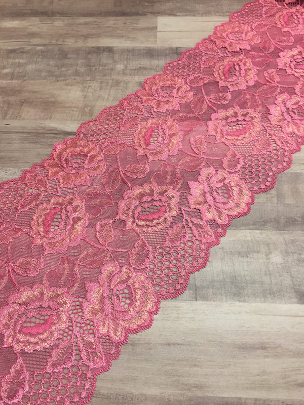 "Coral Pink 7.5"" Wide Stretch Lace"