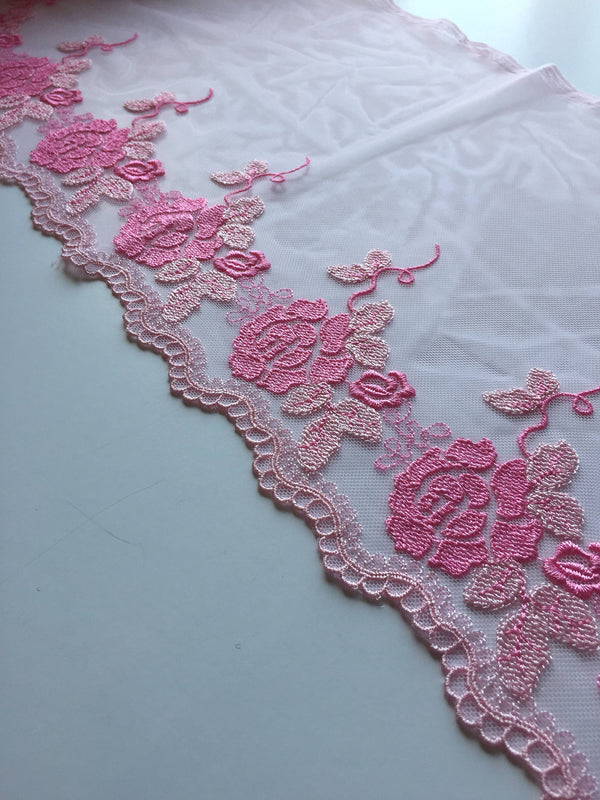 "Pink 10"" Wide Embroidered Lace Trim"
