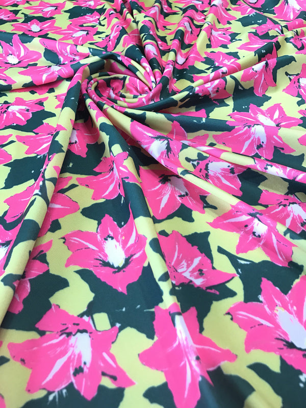 Pink & Green Floral Nylon Spandex