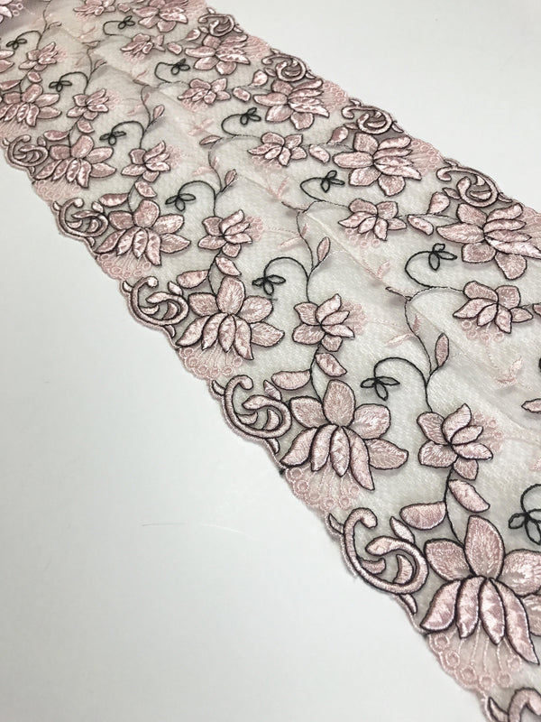"Pink/Black 7.5"" Wide Embroidered Lace Trim"