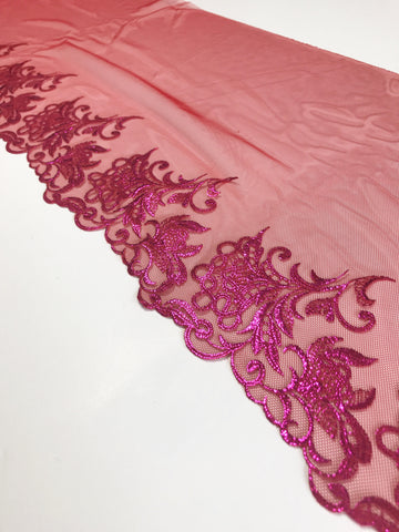 "Red & Fuchsia 8.75"" Wide Embroidered Lace Trim"