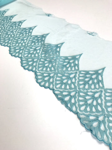"Blue 7"" Wide Embroidered Lace Trim"