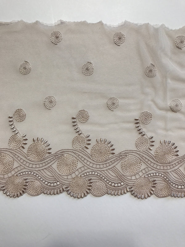 "Light Mocha 8"" Wide Embroidered Lace Trim"