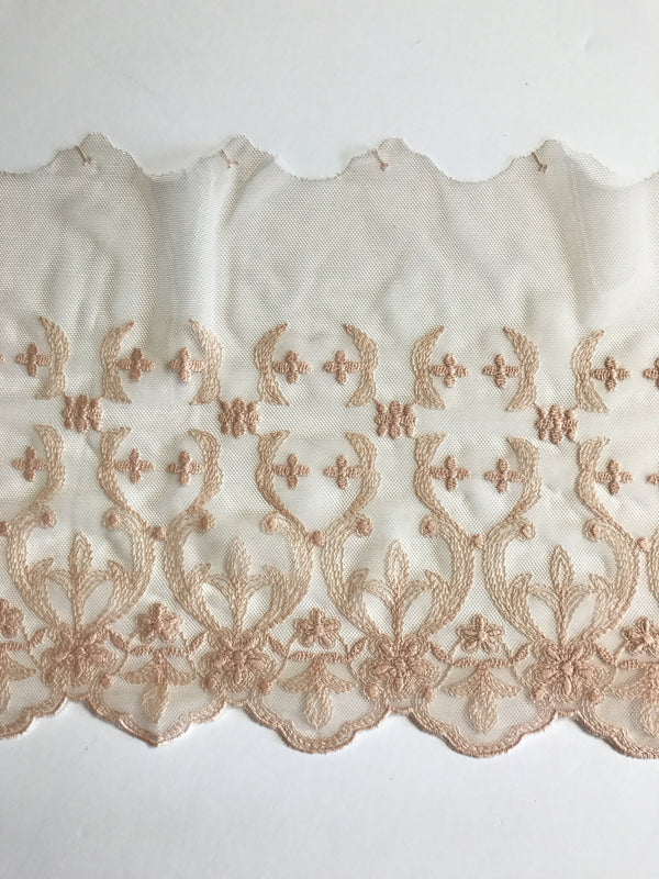 "Light Peach 7.5"" Wide Embroidered Lace Trim"