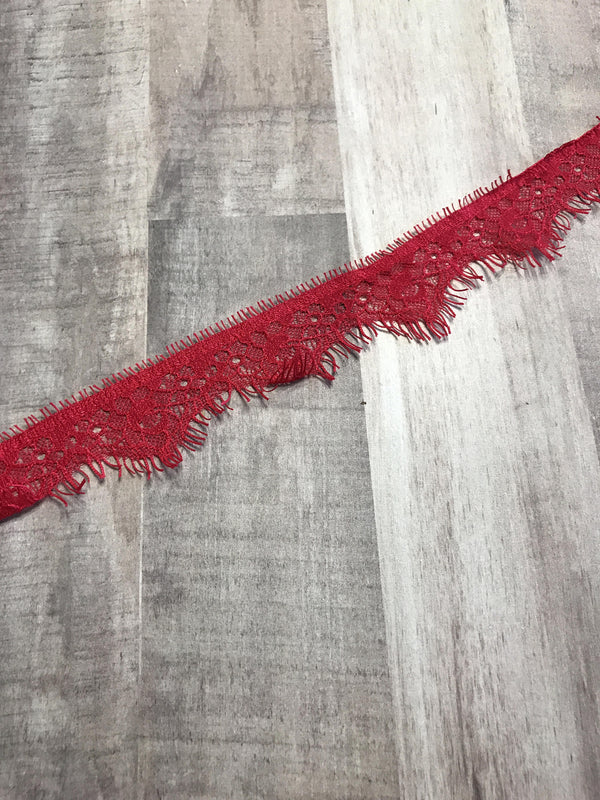 "3YDS Red 1"" Wide Eyelash Lace Trim"