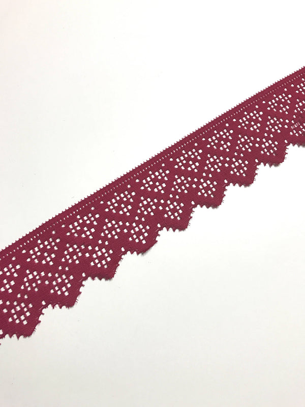 "Dark Fuchsia 2"" Wide Stretch Lace"